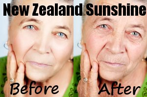 New Zealand sun - before/after